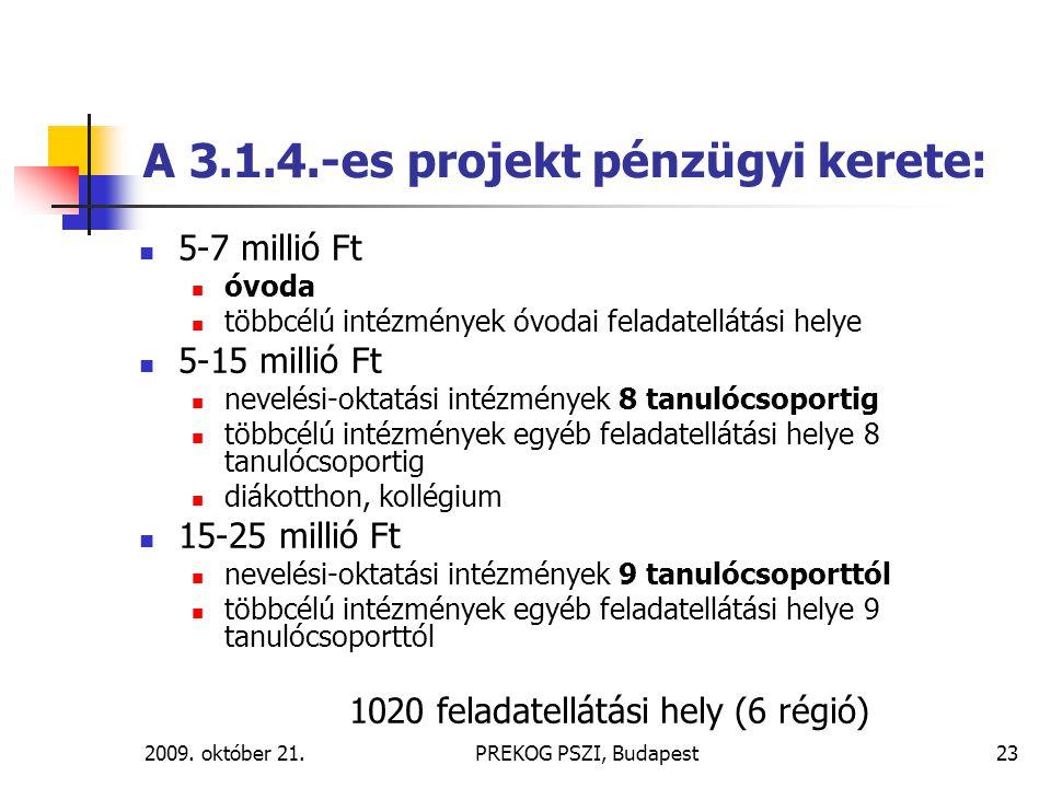 A 3.1.4.-es projekt pénzügyi kerete: