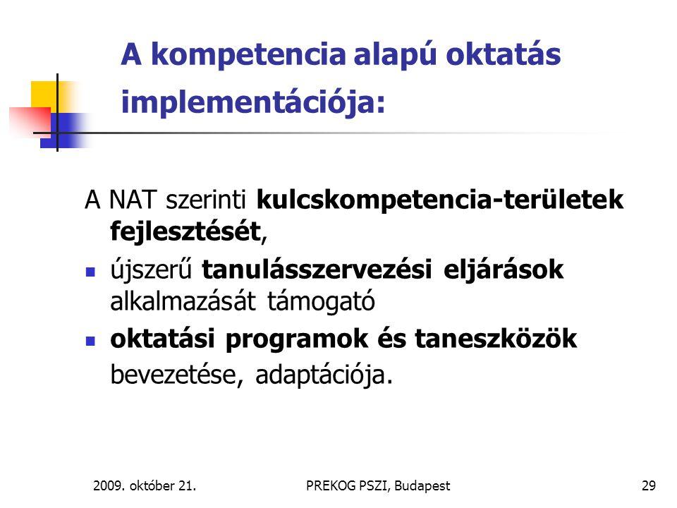 A kompetencia alapú oktatás implementációja: