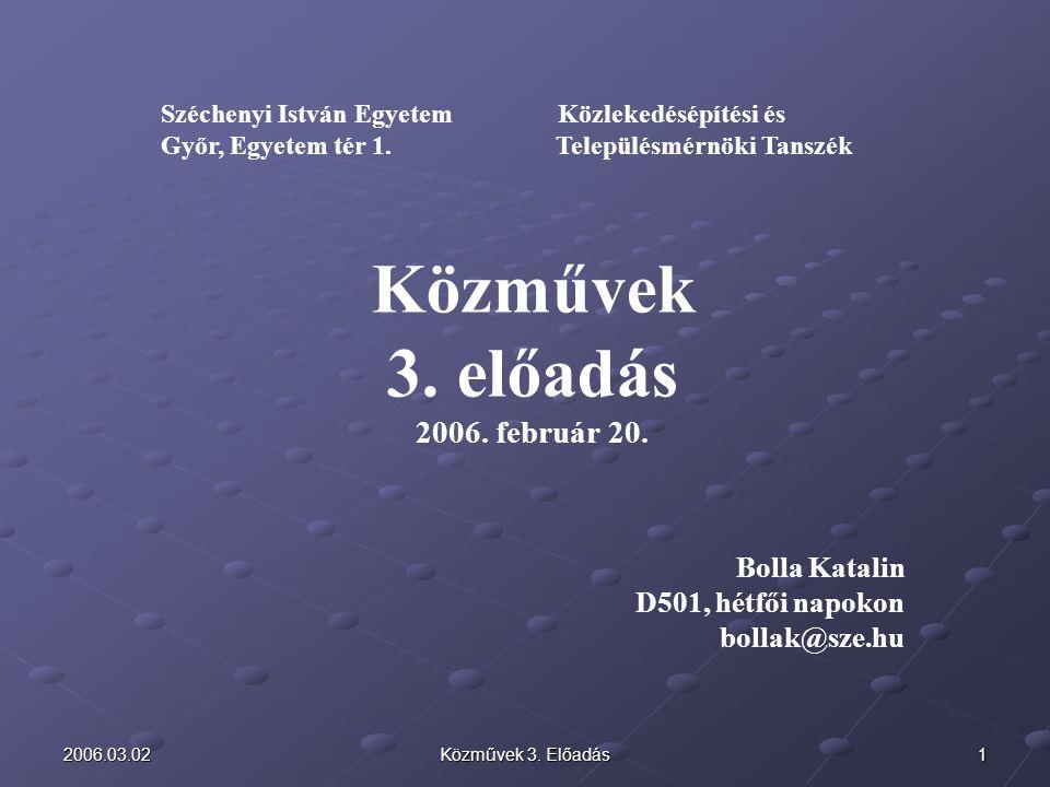 Közművek 3. előadás 2006. február 20. Bolla Katalin