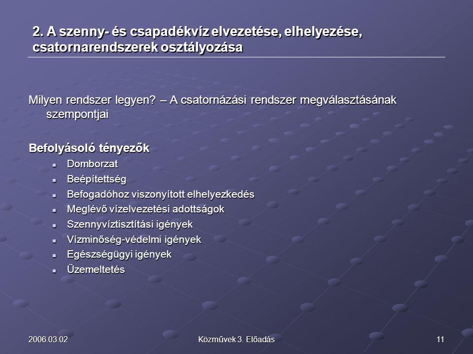 2006.03.02 2. A szenny- és csapadékvíz elvezetése, elhelyezése, csatornarendszerek osztályozása.