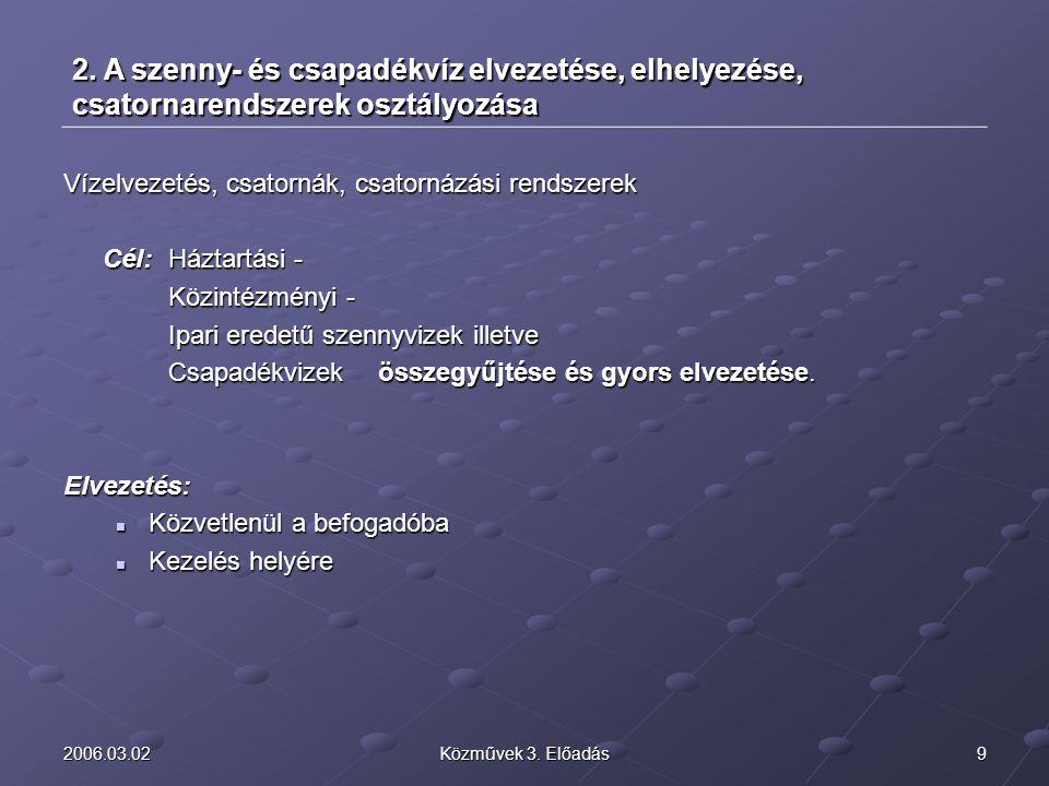 2006.03.02 2. A szenny- és csapadékvíz elvezetése, elhelyezése, csatornarendszerek osztályozása. Vízelvezetés, csatornák, csatornázási rendszerek.