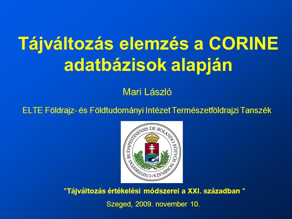 Tájváltozás elemzés a CORINE adatbázisok alapján