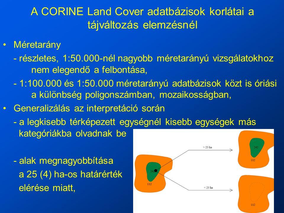 A CORINE Land Cover adatbázisok korlátai a tájváltozás elemzésnél