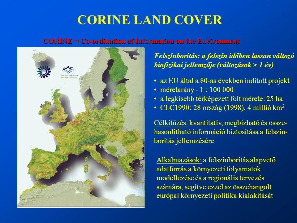 CORINE LAND COVER CORINE = Co-ordination of Information on the Environment. Felszínborítás: a felszín időben lassan változó.
