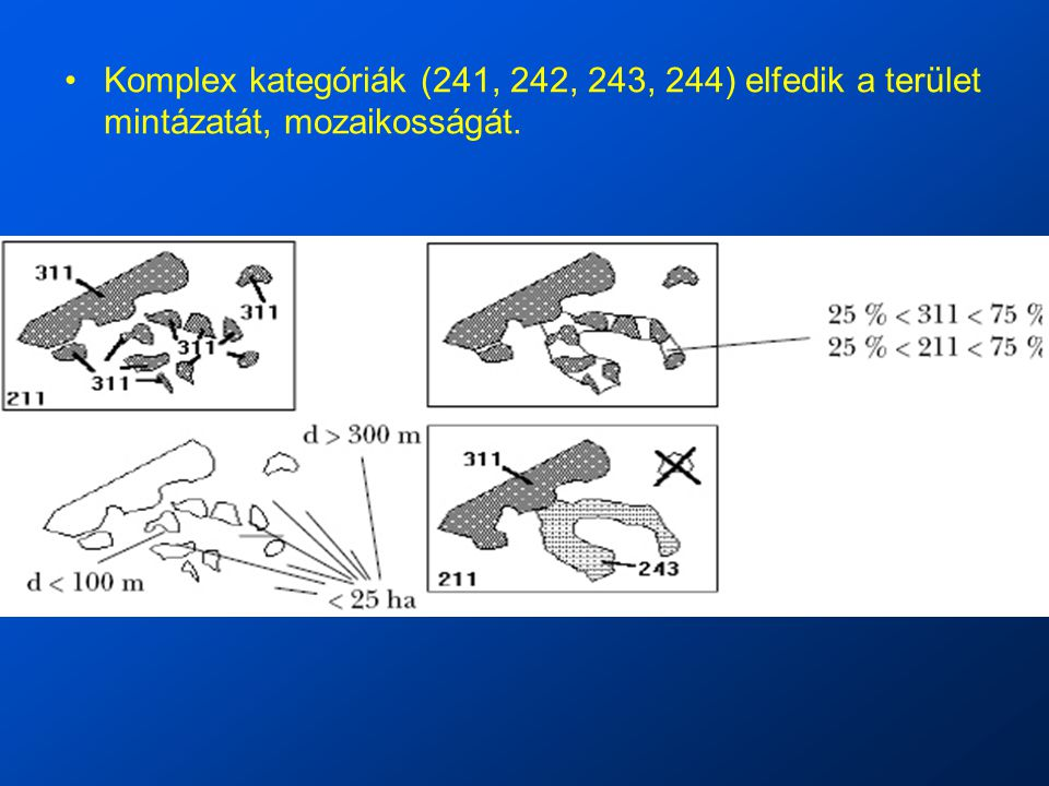 Komplex kategóriák (241, 242, 243, 244) elfedik a terület mintázatát, mozaikosságát.