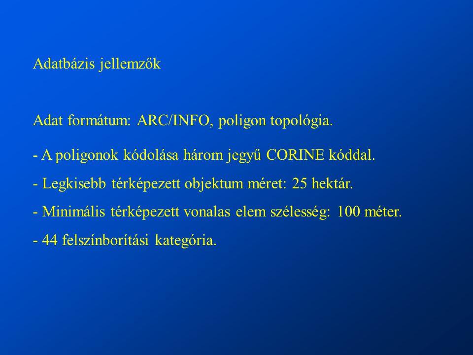 Adatbázis jellemzők Adat formátum: ARC/INFO, poligon topológia.