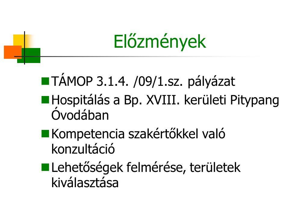 Előzmények TÁMOP 3.1.4. /09/1.sz. pályázat