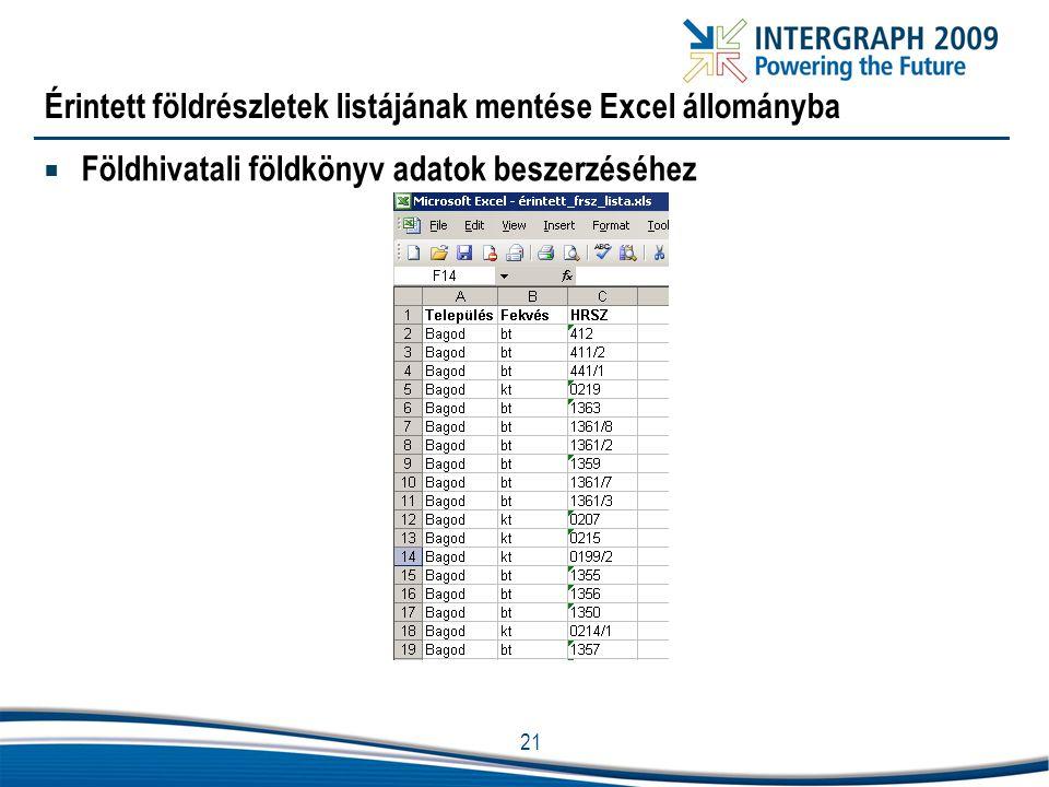 Érintett földrészletek listájának mentése Excel állományba