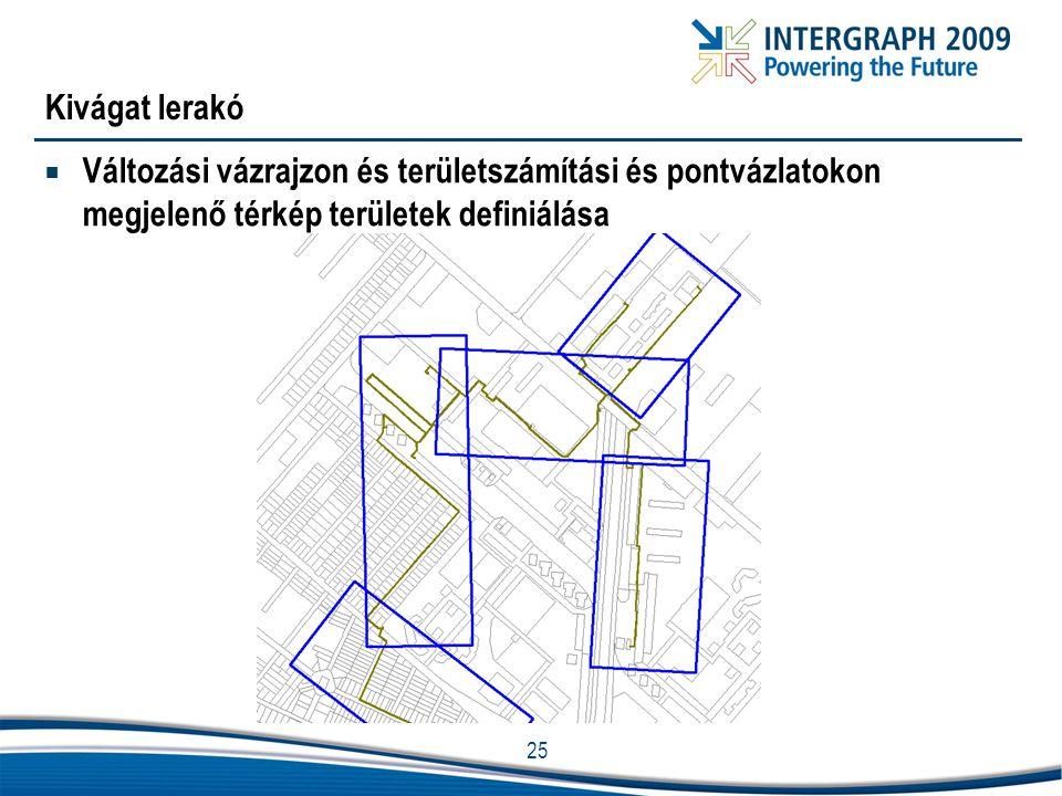 Kivágat lerakó Változási vázrajzon és területszámítási és pontvázlatokon megjelenő térkép területek definiálása.