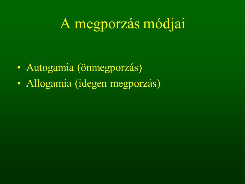 A megporzás módjai Autogamia (önmegporzás)