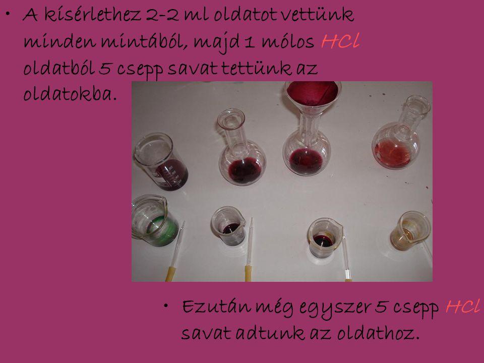 A kísérlethez 2-2 ml oldatot vettünk minden mintából, majd 1 mólos HCl oldatból 5 csepp savat tettünk az oldatokba.
