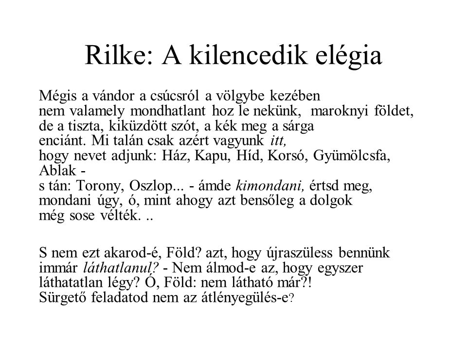Rilke: A kilencedik elégia