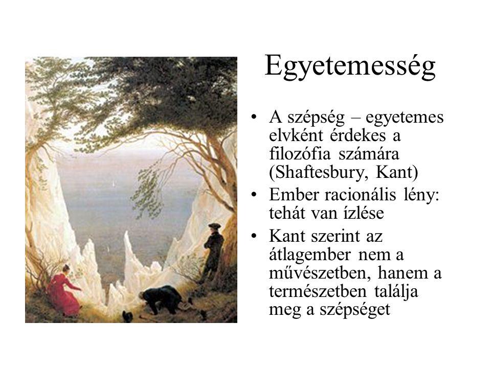 Egyetemesség A szépség – egyetemes elvként érdekes a filozófia számára (Shaftesbury, Kant) Ember racionális lény: tehát van ízlése.