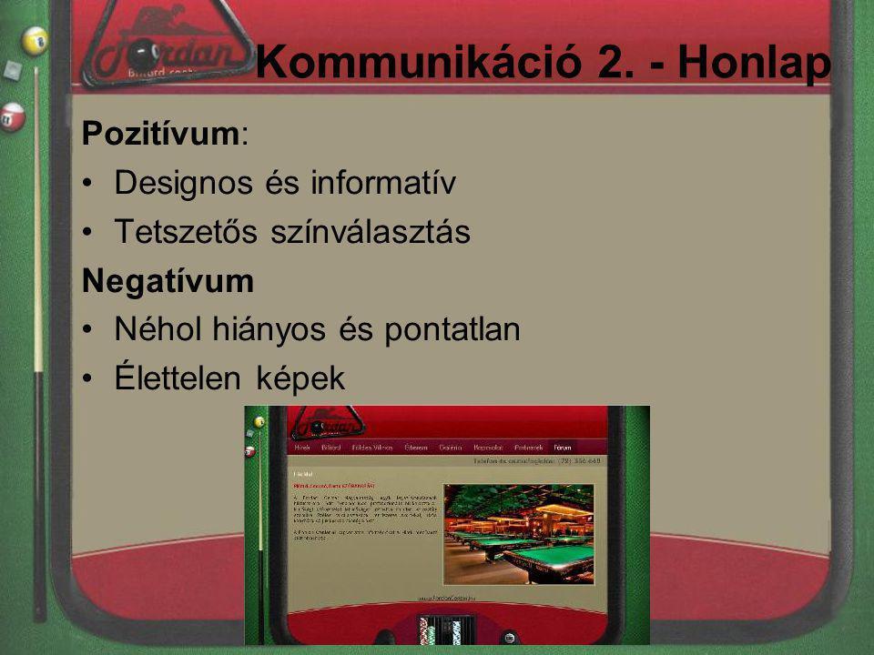 Kommunikáció 2. - Honlap Pozitívum: Designos és informatív