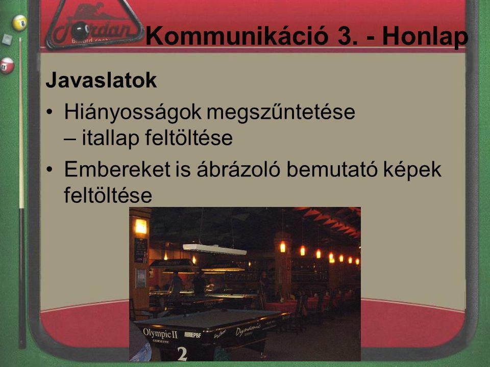 Kommunikáció 3. - Honlap Javaslatok