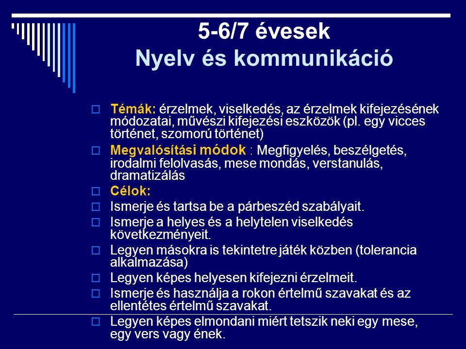 5-6/7 évesek Nyelv és kommunikáció