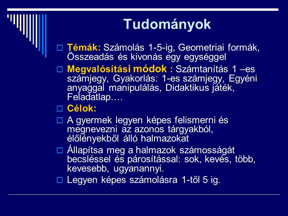 Tudományok Témák: Számolás 1-5-ig, Geometriai formák, Összeadás és kivonás egy egységgel.