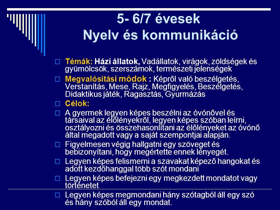 5- 6/7 évesek Nyelv és kommunikáció