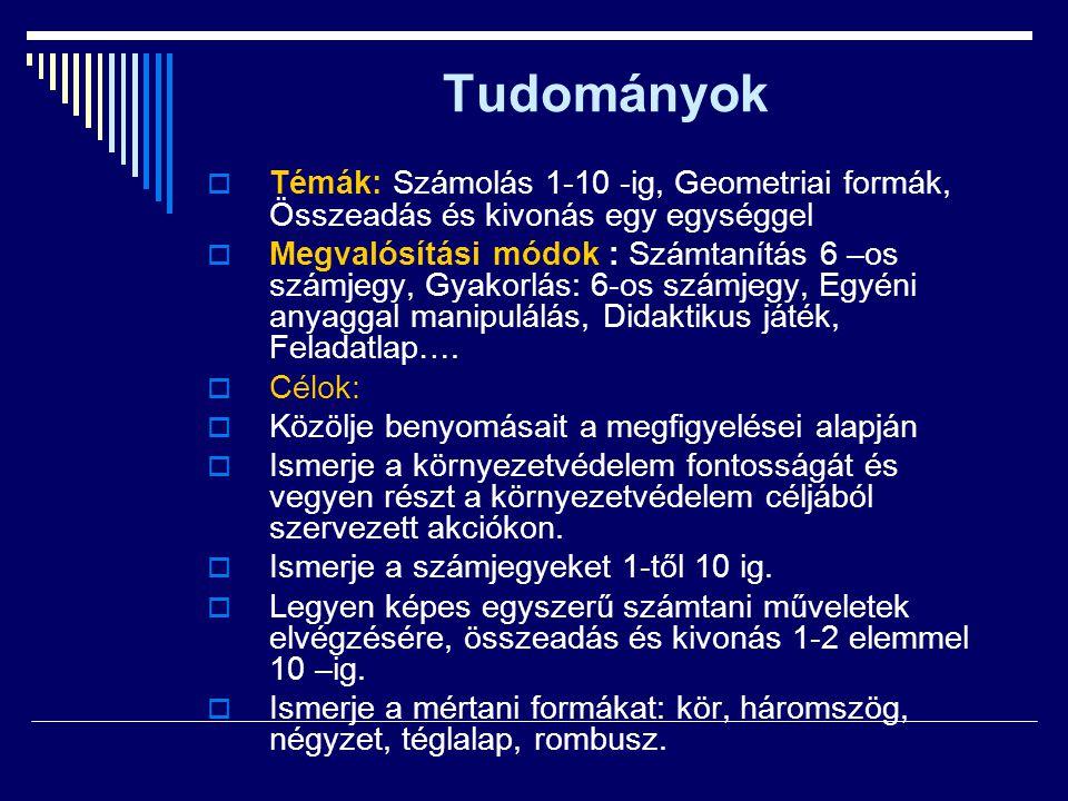 Tudományok Témák: Számolás 1-10 -ig, Geometriai formák, Összeadás és kivonás egy egységgel.