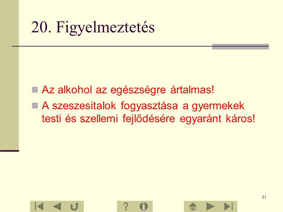 20. Figyelmeztetés Az alkohol az egészségre ártalmas!