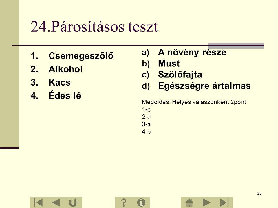 24.Párosításos teszt A növény része 1. Csemegeszőlő Must 2. Alkohol