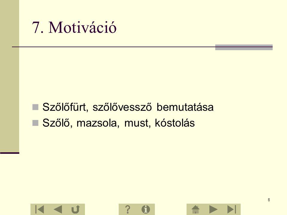 7. Motiváció Szőlőfürt, szőlővessző bemutatása