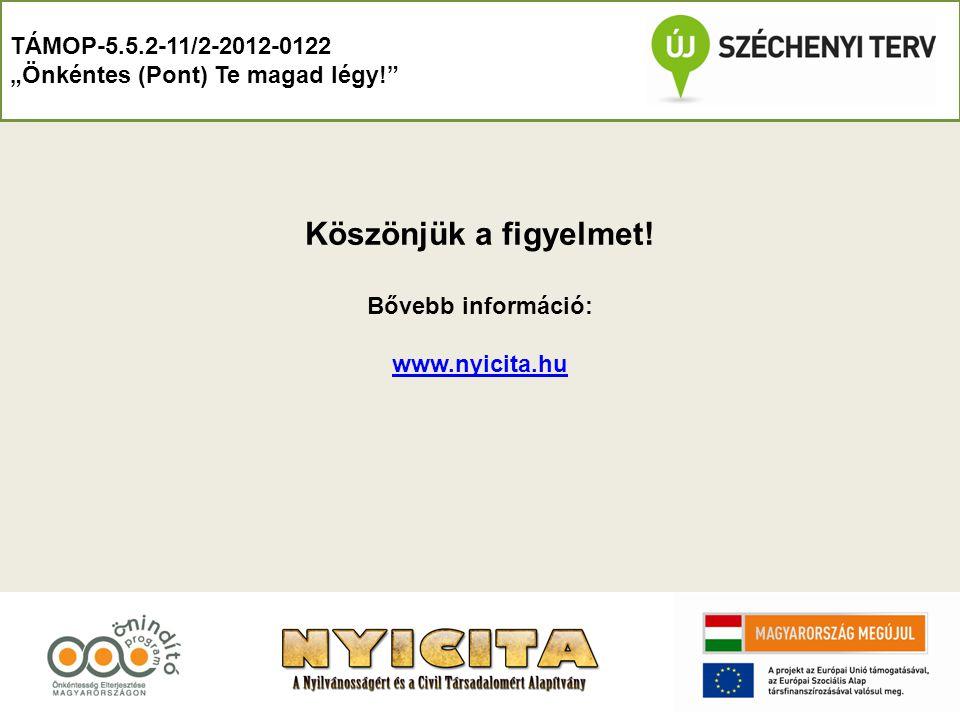 Köszönjük a figyelmet! TÁMOP-5.5.2-11/2-2012-0122