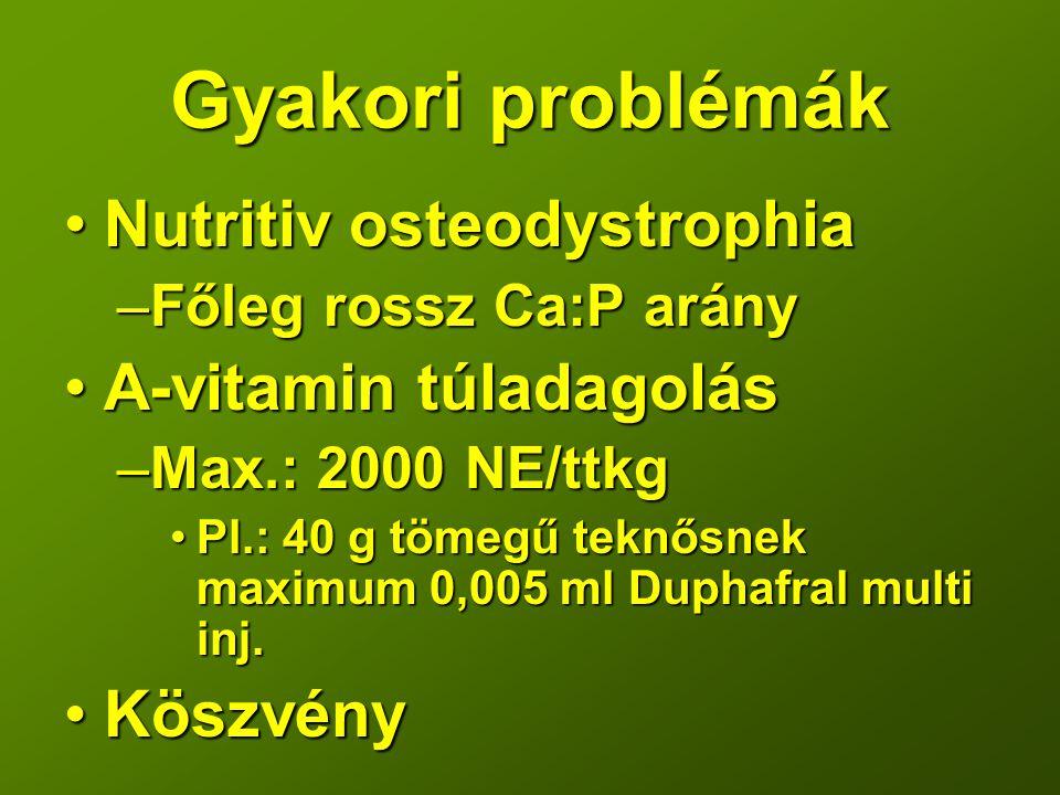 Gyakori problémák Nutritiv osteodystrophia A-vitamin túladagolás