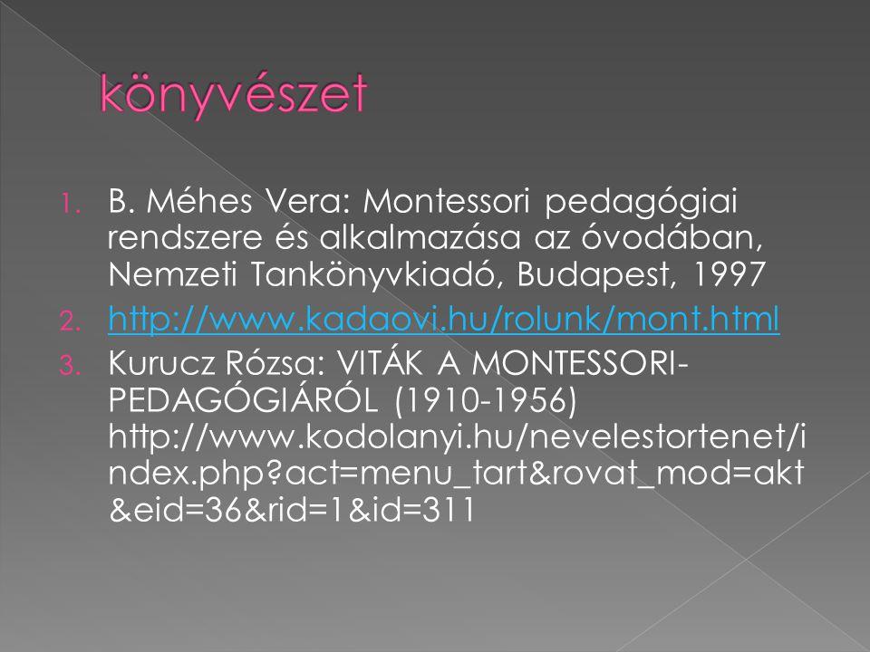 könyvészet B. Méhes Vera: Montessori pedagógiai rendszere és alkalmazása az óvodában, Nemzeti Tankönyvkiadó, Budapest, 1997.