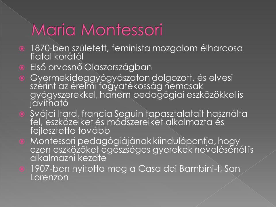Maria Montessori 1870-ben született, feminista mozgalom élharcosa fiatal korától. Első orvosnő Olaszországban.