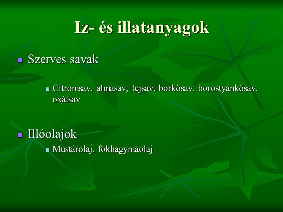 Iz- és illatanyagok Szerves savak Illóolajok