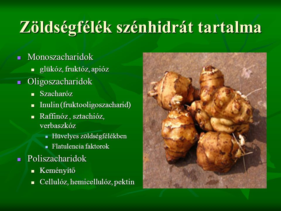 Zöldségfélék szénhidrát tartalma