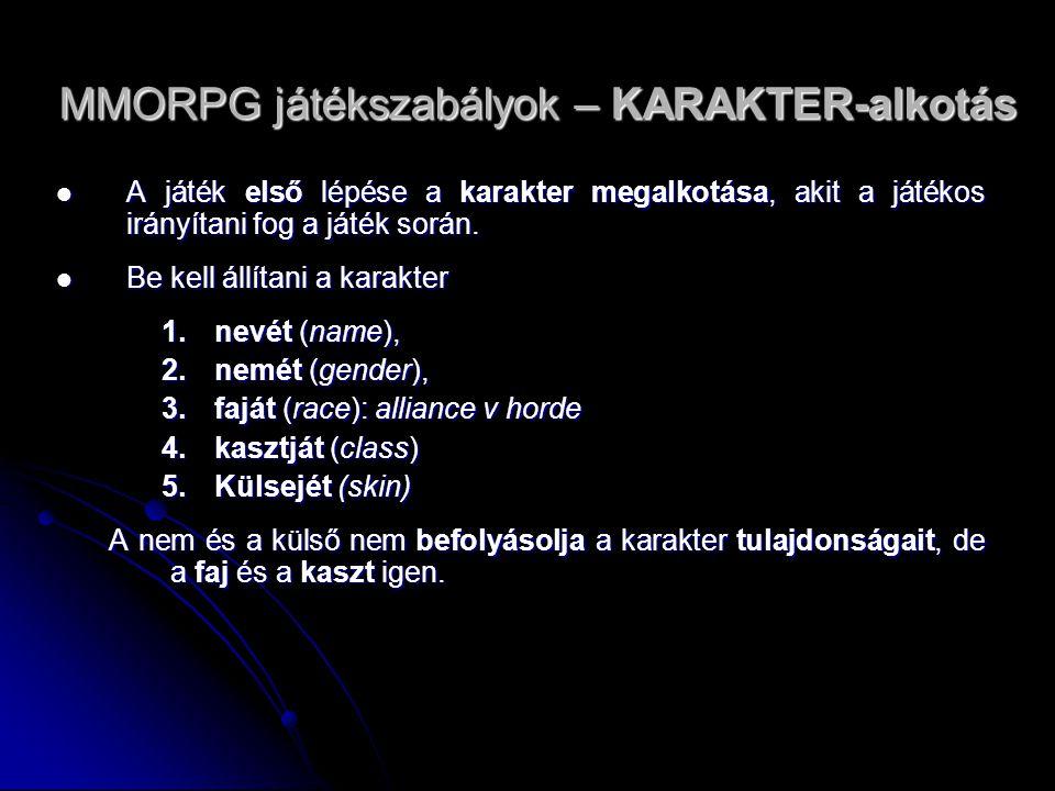 MMORPG játékszabályok – KARAKTER-alkotás