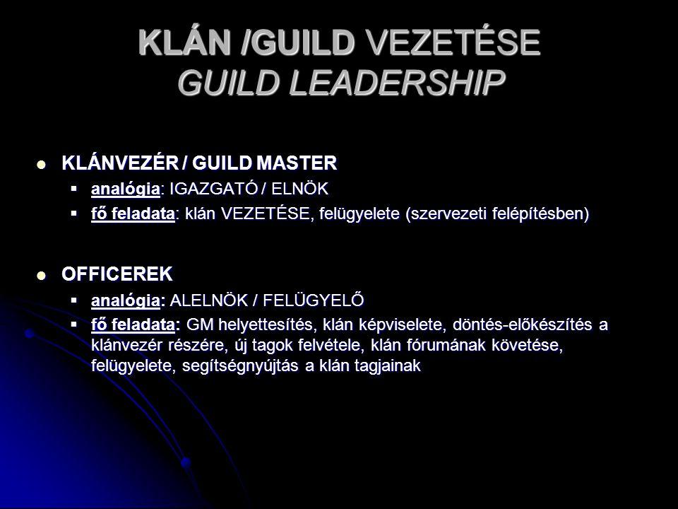 KLÁN /GUILD VEZETÉSE GUILD LEADERSHIP