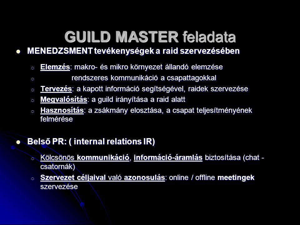 GUILD MASTER feladata MENEDZSMENT tevékenységek a raid szervezésében