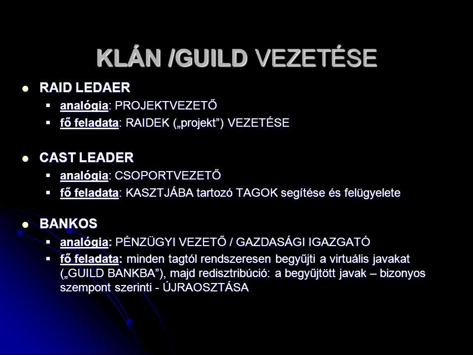 KLÁN /GUILD VEZETÉSE RAID LEDAER CAST LEADER BANKOS