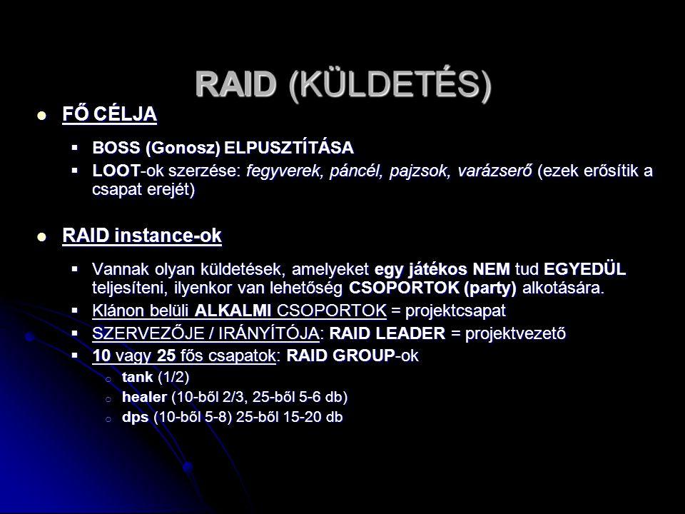 RAID (KÜLDETÉS) FŐ CÉLJA RAID instance-ok BOSS (Gonosz) ELPUSZTÍTÁSA