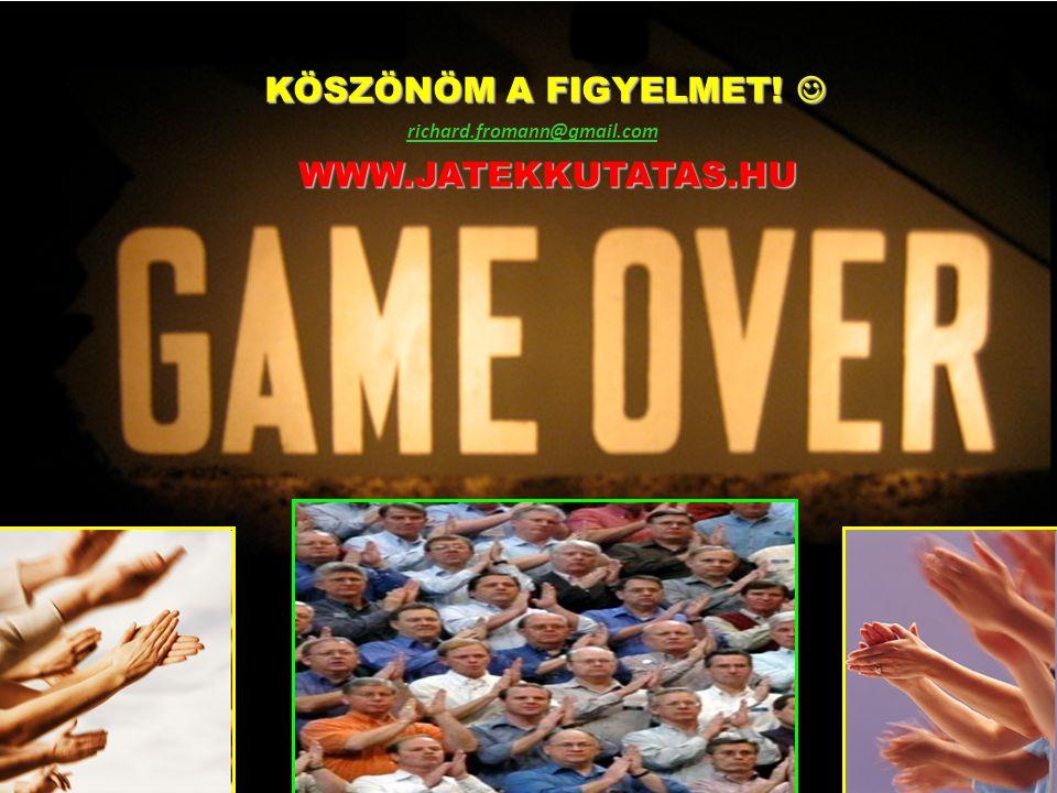 KÖSZÖNÖM A FIGYELMET!  WWW.JATEKKUTATAS.HU richard.fromann@gmail.com