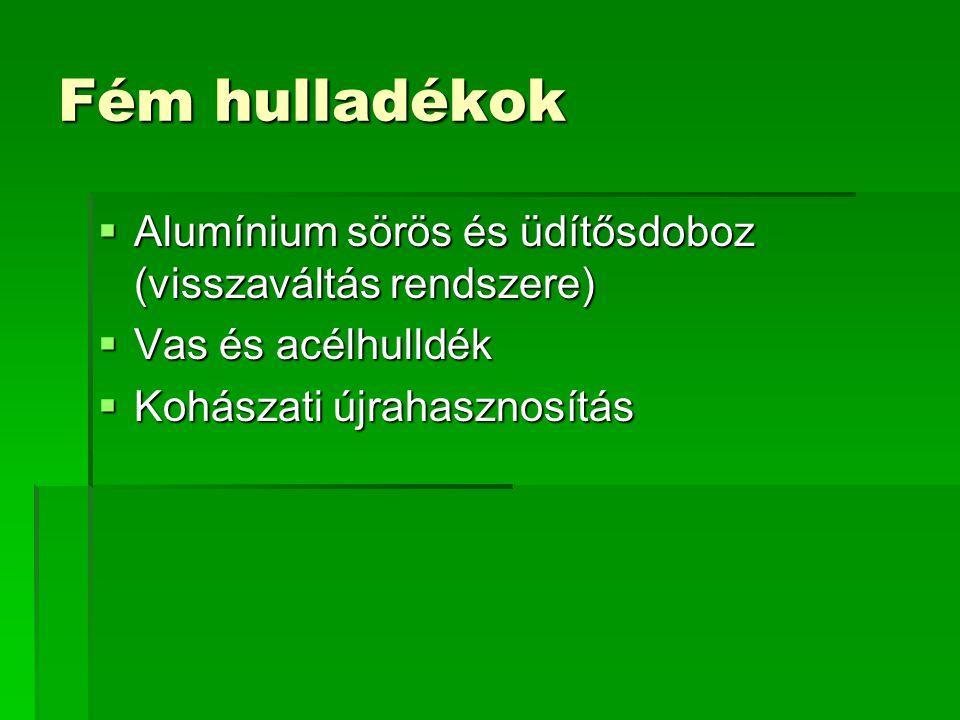 Fém hulladékok Alumínium sörös és üdítősdoboz (visszaváltás rendszere)