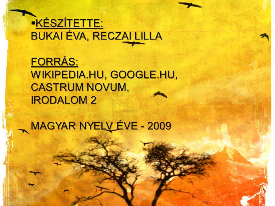 Készítette: Bukai Éva, Reczai Lilla Forrás: wikipedia. hu, google