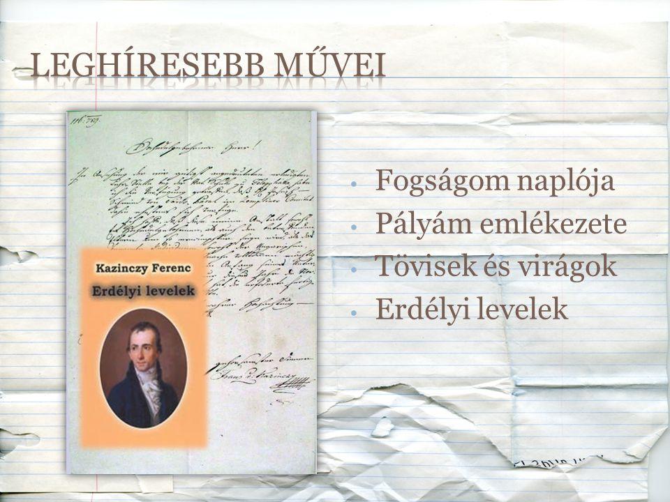 Leghíresebb művei Fogságom naplója Pályám emlékezete
