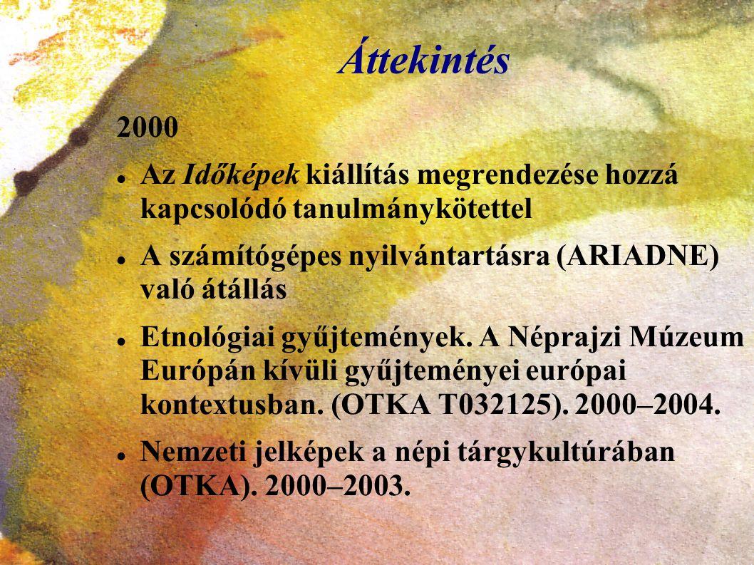 Áttekintés 2000. Az Időképek kiállítás megrendezése hozzá kapcsolódó tanulmánykötettel. A számítógépes nyilvántartásra (ARIADNE) való átállás.