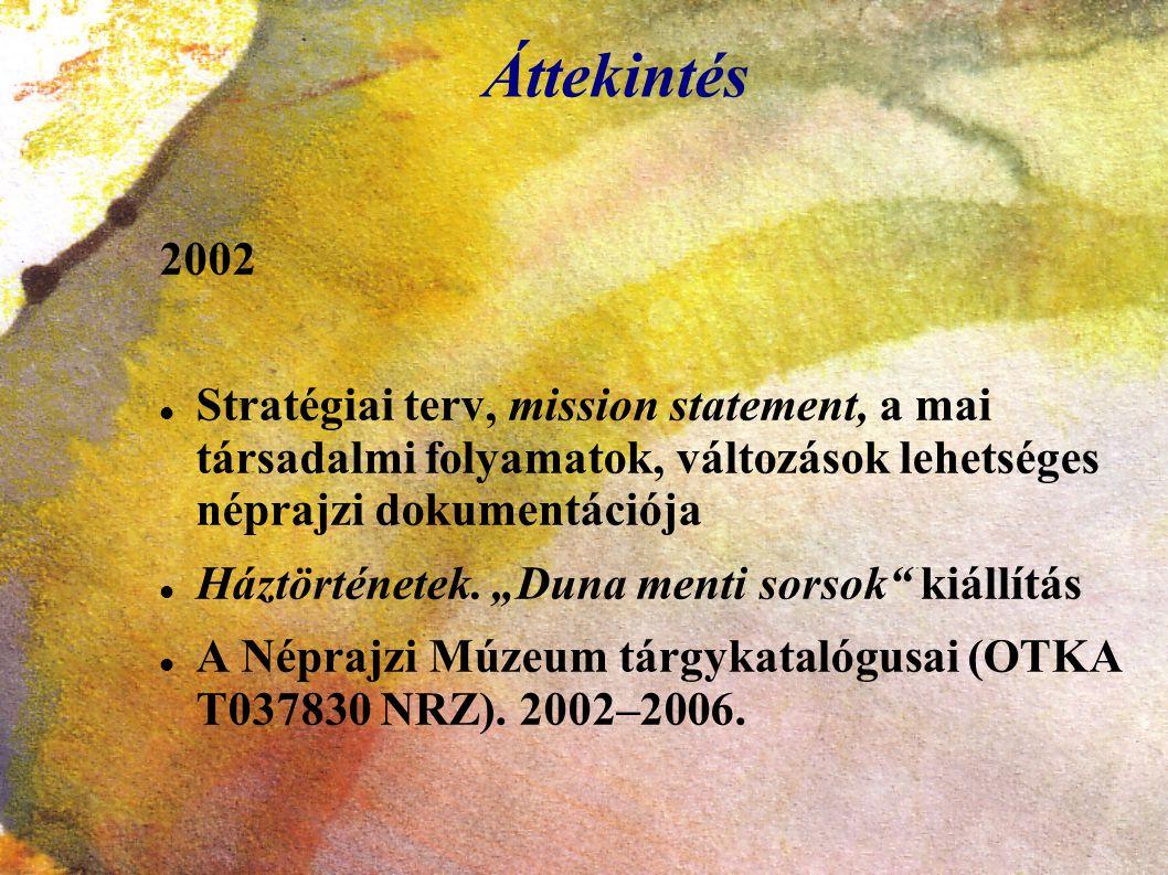Áttekintés 2002. Stratégiai terv, mission statement, a mai társadalmi folyamatok, változások lehetséges néprajzi dokumentációja.