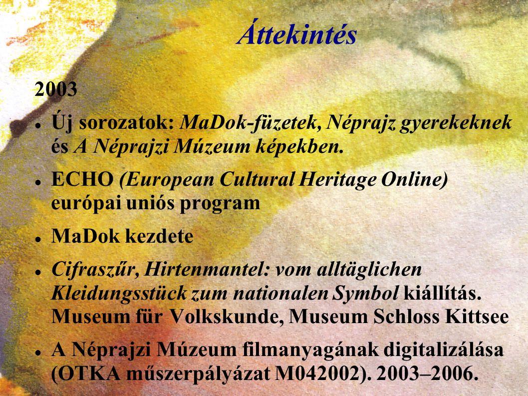 Áttekintés 2003. Új sorozatok: MaDok-füzetek, Néprajz gyerekeknek és A Néprajzi Múzeum képekben.
