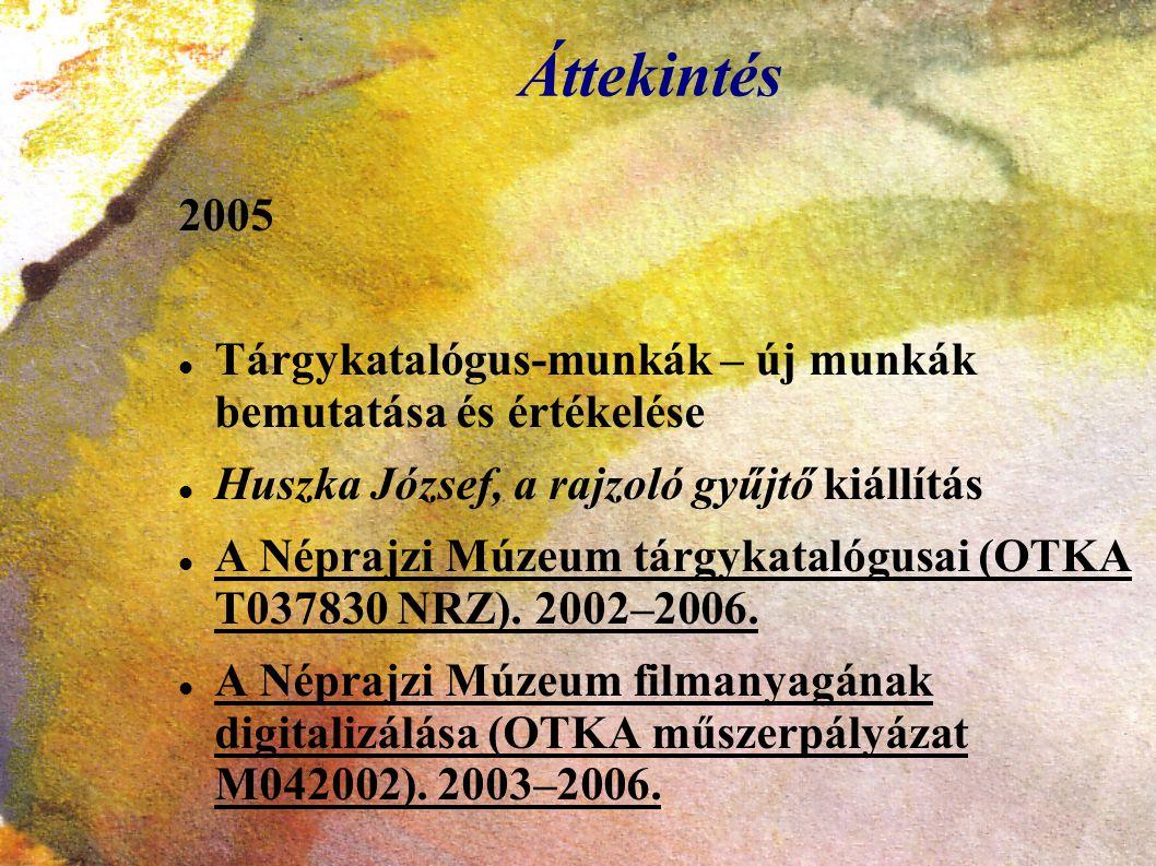 Áttekintés 2005. Tárgykatalógus-munkák – új munkák bemutatása és értékelése. Huszka József, a rajzoló gyűjtő kiállítás.