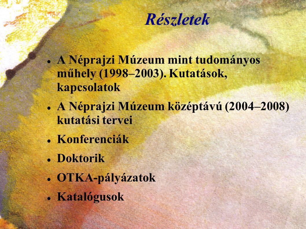 Részletek A Néprajzi Múzeum mint tudományos műhely (1998–2003). Kutatások, kapcsolatok. A Néprajzi Múzeum középtávú (2004–2008) kutatási tervei.