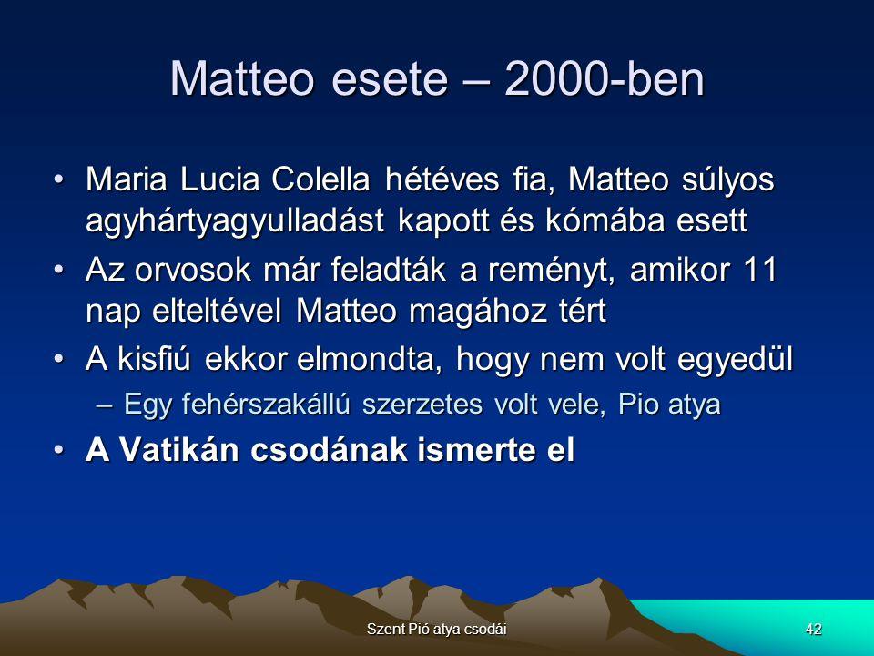 Matteo esete – 2000-ben Maria Lucia Colella hétéves fia, Matteo súlyos agyhártyagyulladást kapott és kómába esett.