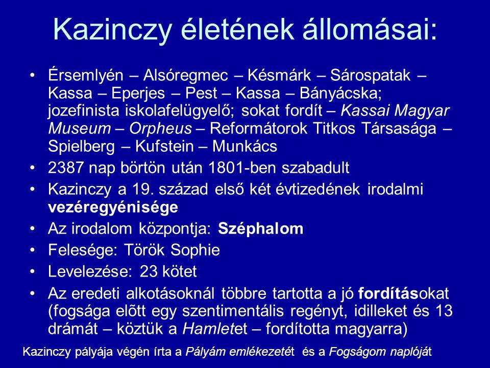Kazinczy életének állomásai: