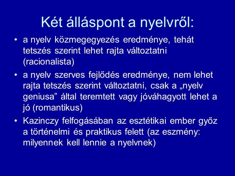 Két álláspont a nyelvről: