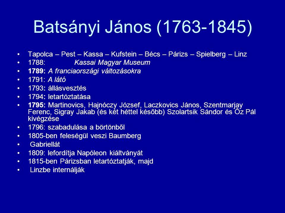 Batsányi János (1763-1845) Tapolca – Pest – Kassa – Kufstein – Bécs – Párizs – Spielberg – Linz. 1788: Kassai Magyar Museum.